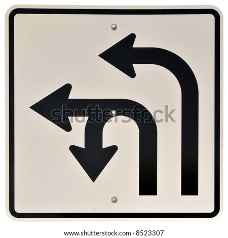 Left & U-Turn Lanes sign