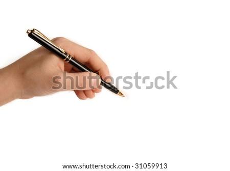 Lefthanded child writing nothing on white background