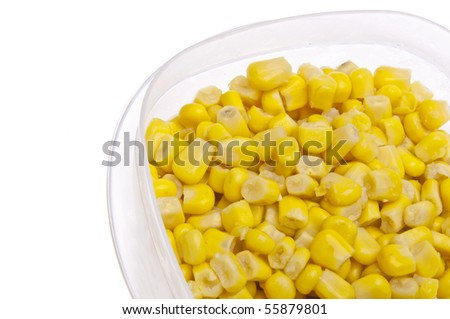 Leftover Corn in a Plastic Container Border Image Isolated on White.