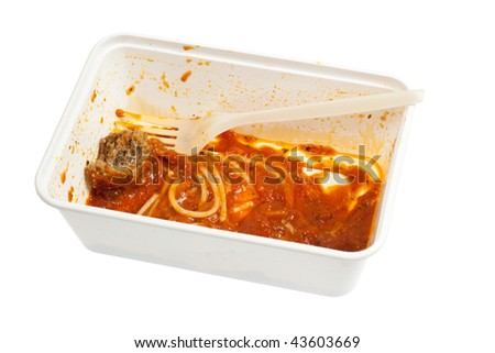 Leftover meatball spaghetti in a disposable container isolated on white background