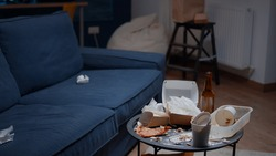 Leftover of pizza, empty beer bottles and napkins on misery table and floor, unhealth lifestyle. Messy, dirty living room with trash, rubbish, garbage thrown down