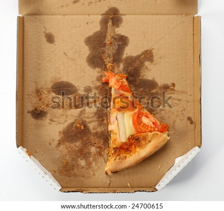 leftovers of pizza in a takeaway box