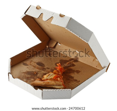 leftovers of pizza in a takeaway box isolated on white background