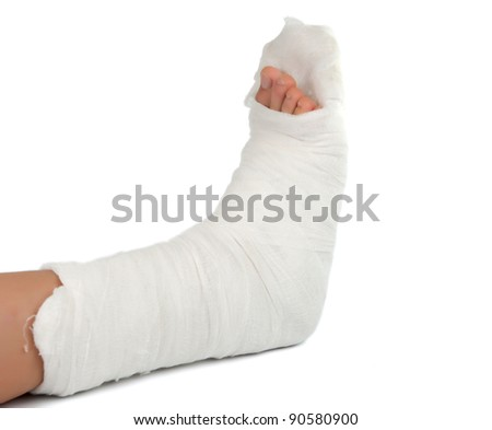 leg in a plaster cast on a white background