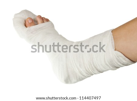 leg in a plaster isolated on a white background