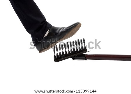 leg man there comes a rake to isolate background - stock photo