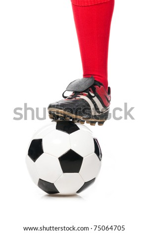 leg of soccer player with ball isolated on white