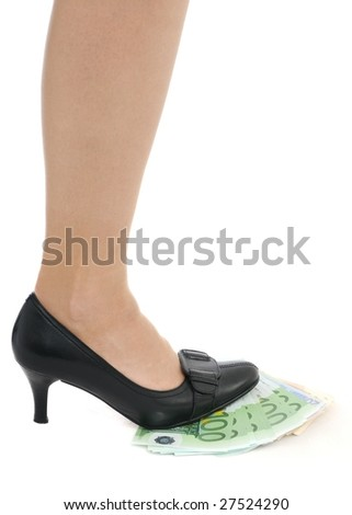 Leg on banknotes (money under control - concept)