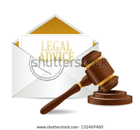 legal advice and gavel illustration design over a white background