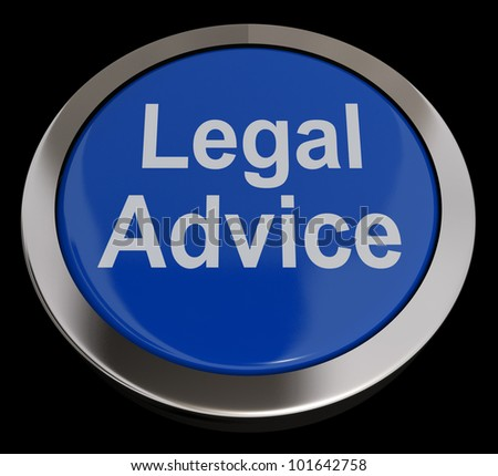 Legal Advice Button Blue Showing Attorney Guidance