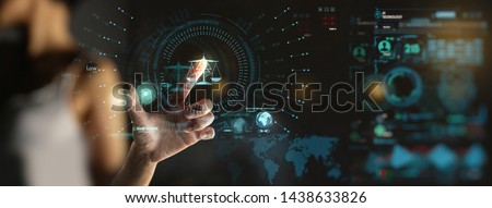 Legal advice technology service concept with businesswon hand working with modern Ui computer.