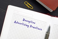 Legal concept meaning Deceptive Advertising Practices with phrase on the page.