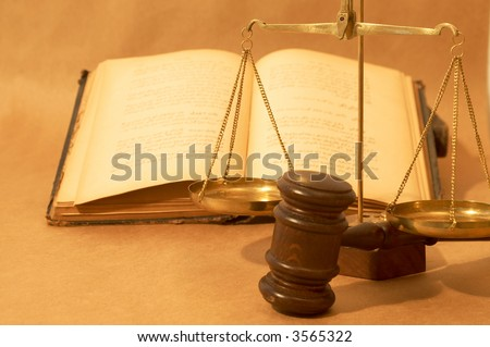 legal concept with gavel, books and scale, shallow dof