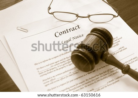 legal contract and law gavel - stock photo