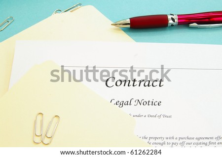 legal contract and office file folders