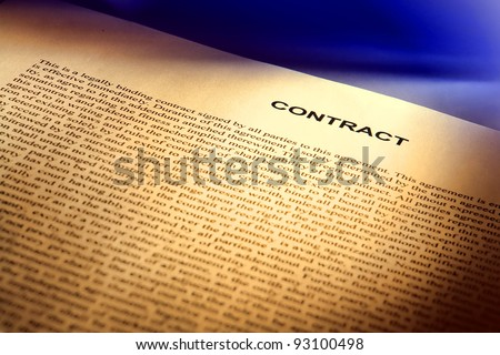 Legal contract document written in common law English (fictitious document with authentic legal language)