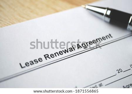Legal document Lease Renewal Agreement on paper close up. Imagine de stoc ©