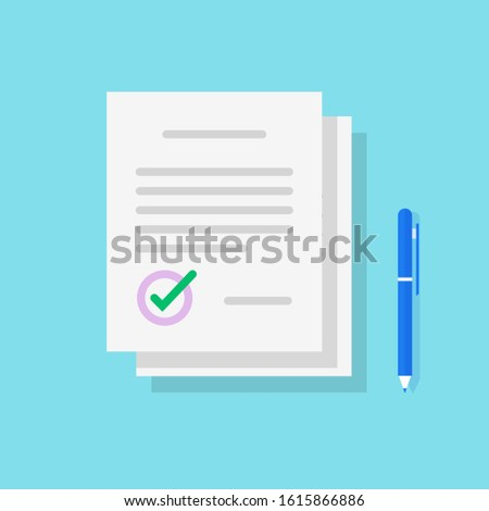 Legal documents pile icon or paper contract stack sign with signature and pen flat cartoon, idea of documentation writing, success deal approved isolated image