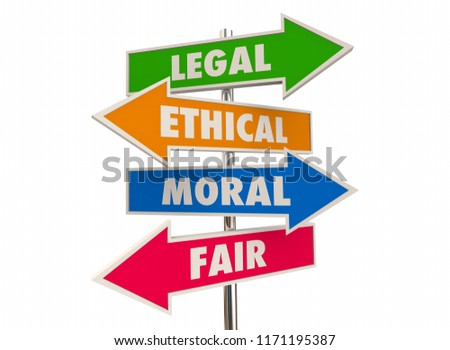 Legal Ethical Moral Fair Right Justice Arrow Signs 3d Illustration Сток-фото ©