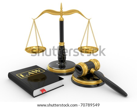 legal gavel, scales and law book on a white background