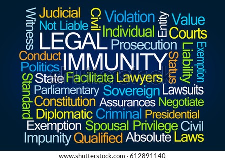 Legal Immunity Word Cloud on Blue Background