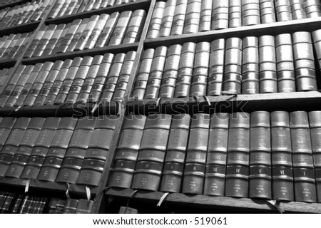Legal Library in wooden bookcase - South African Law Reports - High Key BW