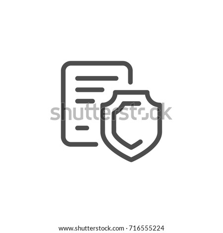 Legal protection line icon isolated on white