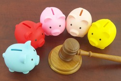 Legal rules for financial funds concept, wooden judge gavel and many piggy banks.