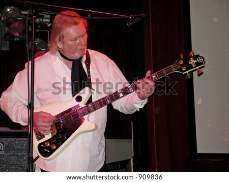 """Legendary bass guitarist Chris Squire of Yes on stage recently with the psychedelic 60's pop group """"The Syn"""" at BB Kings in Manhattan."""
