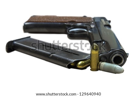 Legendary U.S. Army handgun Colt with bullets isolated on white background. Military model