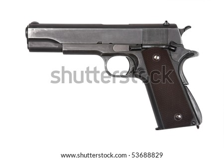 Legendary U.S. Army pistol isolated on white background. Military model (gray color).