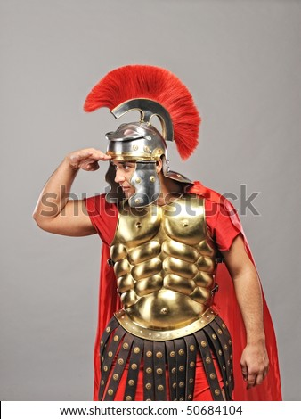 Legionary soldier looking for an enemy