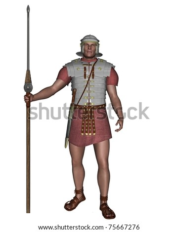Legionary soldier of the Roman Empire wearing lorica segmentata, 3d digitally rendered illustration