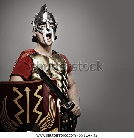 Legionary soldier ready for a war
