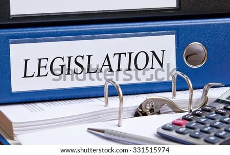 Legislation - blue binder with text Photo stock ©