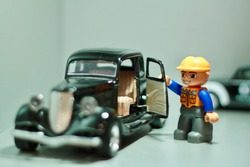 Lego Toy man for different jobs. Man working cool foto