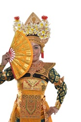 Legong Dancer Cover Half of Her Face with a Hand Fan, a Shy Maiden