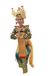 Legong Dancer greeting with hip tilt pose