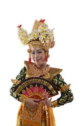 Legong Dancer posing with a hand fan