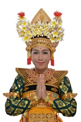 Legong  dancer who are greeting