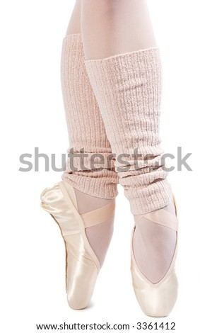 legs in ballet shoes on a white backgrounde