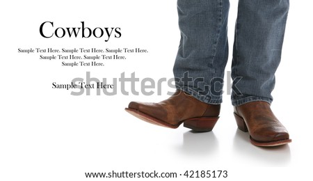 Legs in Jeans and Cowboys Boots with Text Space to the Left