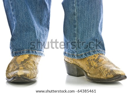 Legs in Jeans and snakeskin Cowboys Boots