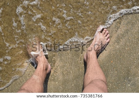Very grateful Hairy men walking beach