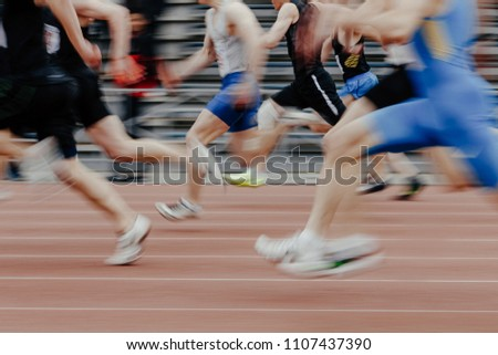 legs men sprinters runners running athletic track Stock fotó ©