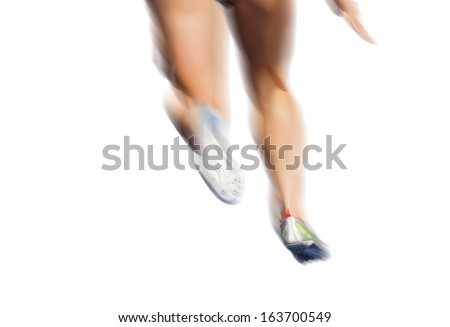 Legs of female runner with motion blur on white background