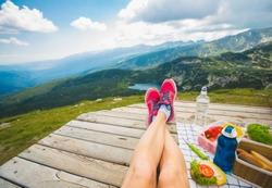 Legs of traveler girl