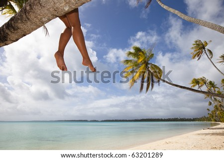 Legs of women seat on palm tree in a white sand beach of a paradise island