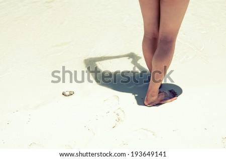 Legs on the beach , Vintage Legs on the beach