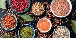 Legumes assortment panorama, overhead shot on a dark background. Lentils, soybeans, chickpeas, red kidney beans, a vatiety of pulses